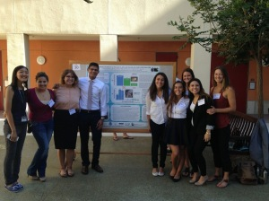 Gaines Lab summer interns and I presenting our research poster at the UC Natural Reserve System conference. From left to right: Amy Wu, Dominique Whittle, Vanessa Esguerra, Daniel Parr, Carolina Espinoza, Carina Motta, Emma Horanic, Caitlin Ongsarte, and Lindsey Peavey.